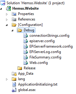 Using build-specific folders for configuration files