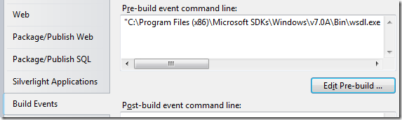 Edit pre-build event in project properties