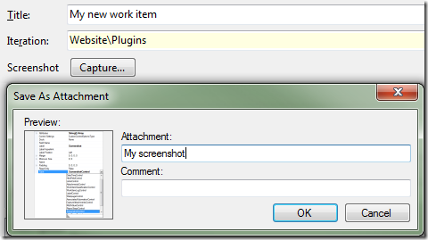 TFS Work Item Screenshot Control