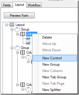 Adding a new control to a work item definition