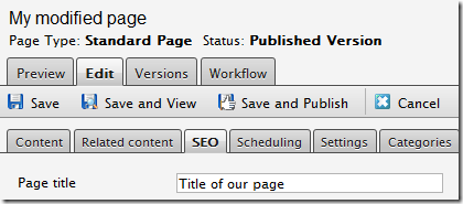 Screenshot of explicitly specified page title