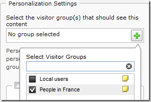 Selecting visitor groups for content in TinyMCE