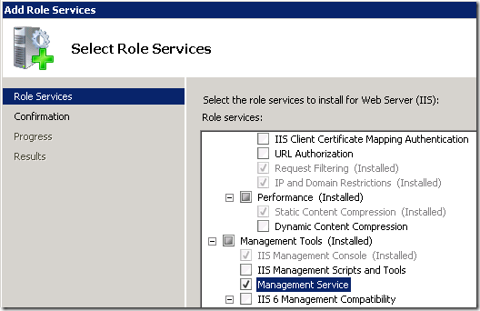 Installing the IIS Management Service