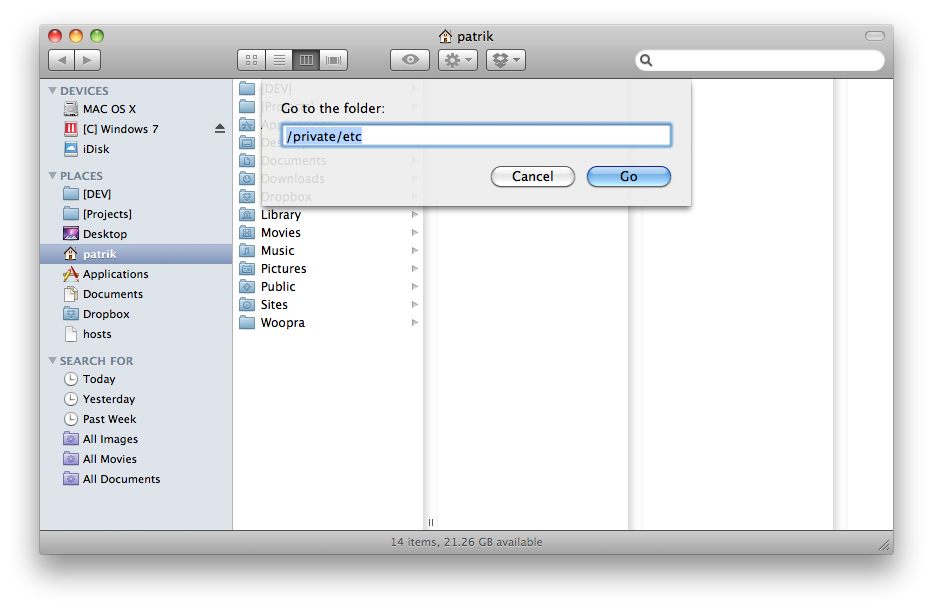 edit host file mac os x 10.6.8