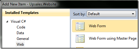 Adding a new web form dialog