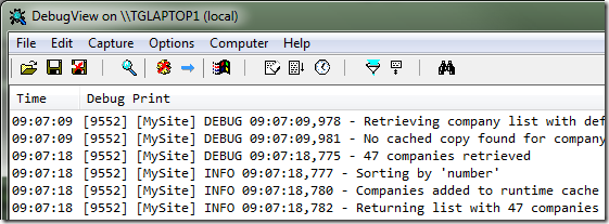 Log4net messages in real-time in DebugView