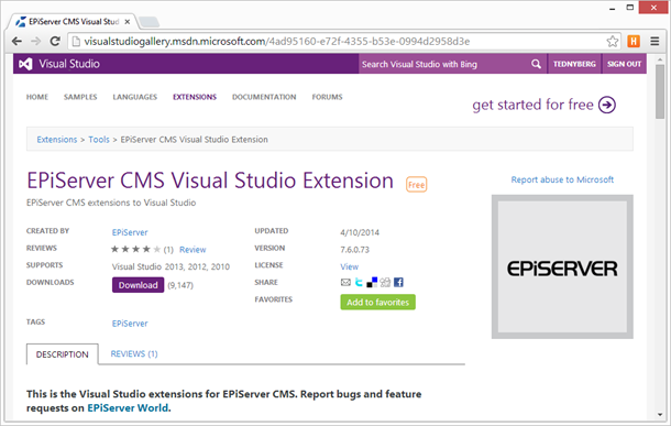 EPiServer CMS Visual Studio Extension