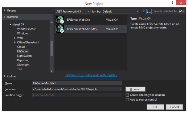EPiServer Web Site project template in Visual Studio