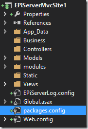 EPiServer basic project structure in Visual Studio