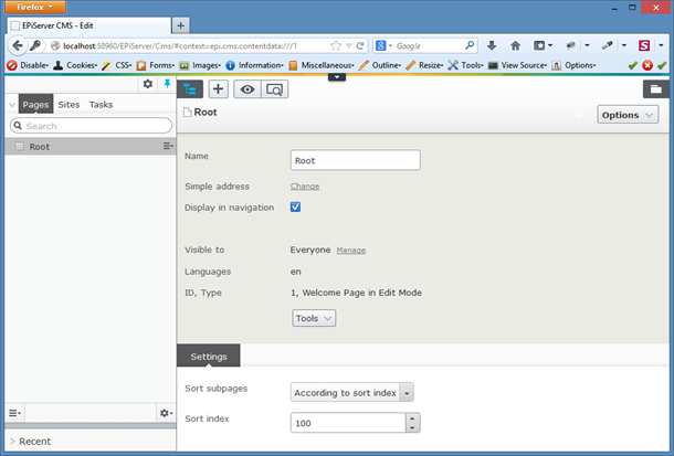 EPiServer UI after initial setup