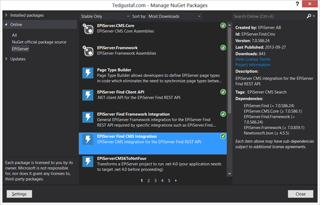 EPiServer Find packages in the NuGet package manager