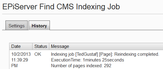 Screenshot of scheduled job result