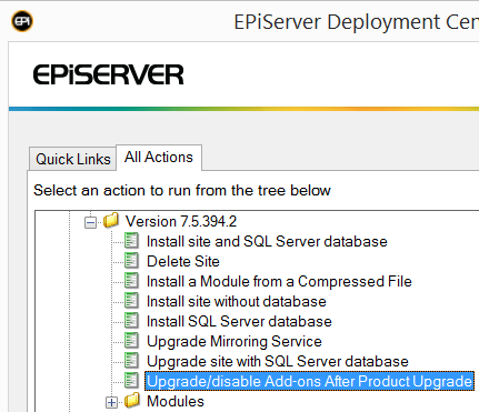 Upgrade add-ons option in Deployment Center for EPiServer 7.5
