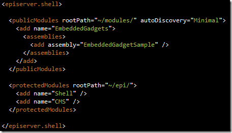 Registering the gadget assembly in web.config