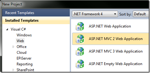 Creating a new ASP.NET MVC 2 project in Visual Studio