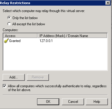 Built-in SMTP-server in the IIS returns 5 7 1 Unable to relay