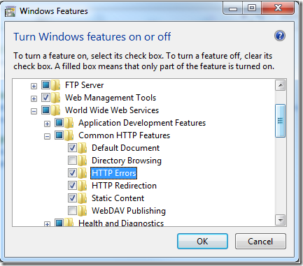 HTTP Errors feature in IIS