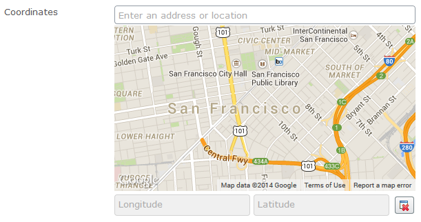 Screenshot of Google Maps editor in EPiServer 7.5