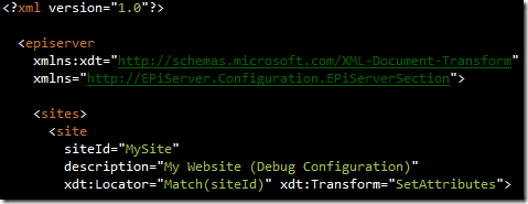 Config transform file with custom XML namespace