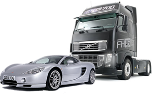 Volvo FH12 and Ascari KZ1 photomontage