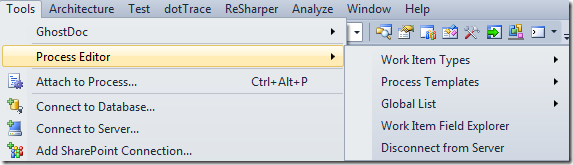 Process Editor menu option in Visual Studio