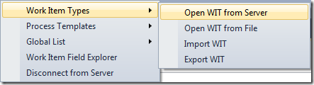 Work Item Types menu in Visual Studio