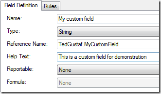 Work item field properties dialog