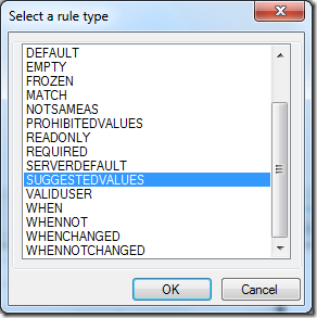 Field rule type dialog